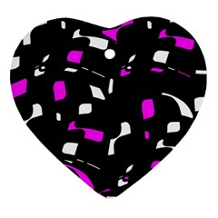 Magenta, black and white pattern Ornament (Heart)