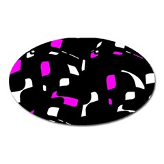 Magenta, black and white pattern Oval Magnet