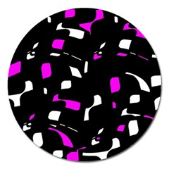Magenta, black and white pattern Magnet 5  (Round)