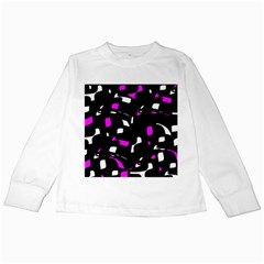Magenta, black and white pattern Kids Long Sleeve T-Shirts