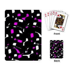 Magenta, black and white pattern Playing Card