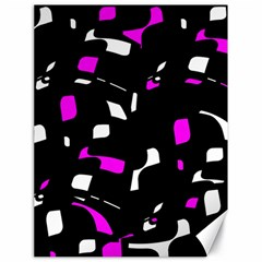 Magenta, black and white pattern Canvas 18  x 24