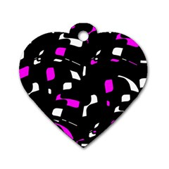 Magenta, black and white pattern Dog Tag Heart (One Side)