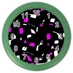 Magenta, black and white pattern Color Wall Clocks