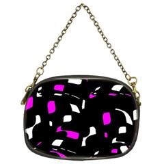 Magenta, black and white pattern Chain Purses (Two Sides)