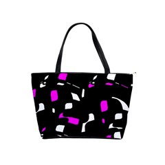 Magenta, black and white pattern Shoulder Handbags