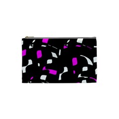 Magenta, black and white pattern Cosmetic Bag (Small)