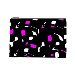 Magenta, black and white pattern Cosmetic Bag (Large)