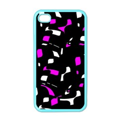 Magenta, black and white pattern Apple iPhone 4 Case (Color)