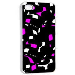 Magenta, black and white pattern Apple iPhone 4/4s Seamless Case (White)