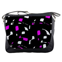 Magenta, black and white pattern Messenger Bags