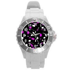 Magenta, black and white pattern Round Plastic Sport Watch (L)