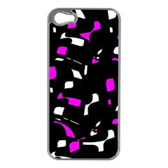 Magenta, black and white pattern Apple iPhone 5 Case (Silver)