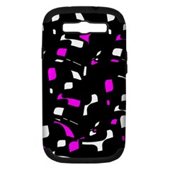 Magenta, black and white pattern Samsung Galaxy S III Hardshell Case (PC+Silicone)