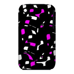 Magenta, black and white pattern Apple iPhone 3G/3GS Hardshell Case (PC+Silicone)