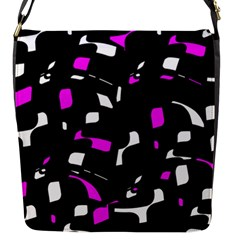 Magenta, black and white pattern Flap Messenger Bag (S)