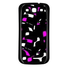 Magenta, black and white pattern Samsung Galaxy S3 Back Case (Black)