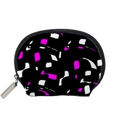 Magenta, black and white pattern Accessory Pouches (Small)