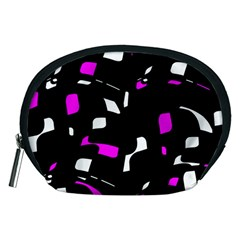 Magenta, black and white pattern Accessory Pouches (Medium)