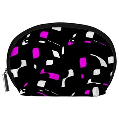 Magenta, black and white pattern Accessory Pouches (Large)