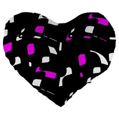 Magenta, black and white pattern Large 19  Premium Flano Heart Shape Cushions