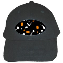 Orange, black and white pattern Black Cap