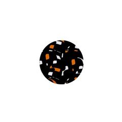 Orange, black and white pattern 1  Mini Buttons