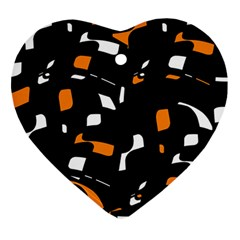Orange, black and white pattern Ornament (Heart)