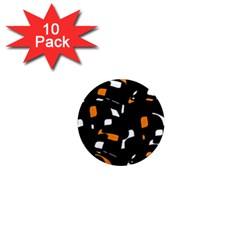 Orange, black and white pattern 1  Mini Magnet (10 pack)