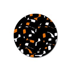 Orange, black and white pattern Rubber Round Coaster (4 pack)