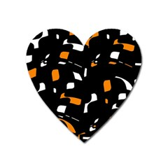 Orange, black and white pattern Heart Magnet