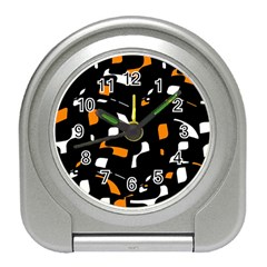 Orange, black and white pattern Travel Alarm Clocks