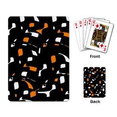 Orange, black and white pattern Playing Card