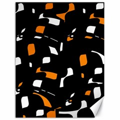 Orange, black and white pattern Canvas 18  x 24