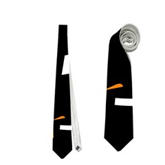 Orange, Black And White Pattern Neckties (one Side)