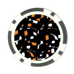 Orange, black and white pattern Poker Chip Card Guards (10 pack)