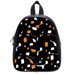Orange, black and white pattern School Bags (Small)