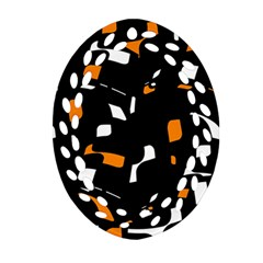 Orange, black and white pattern Oval Filigree Ornament (2-Side)