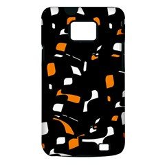 Orange, black and white pattern Samsung Galaxy S II i9100 Hardshell Case (PC+Silicone)