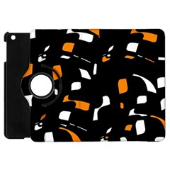 Orange, black and white pattern Apple iPad Mini Flip 360 Case