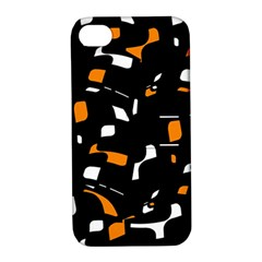 Orange, black and white pattern Apple iPhone 4/4S Hardshell Case with Stand