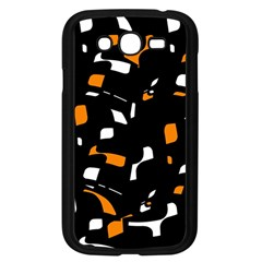Orange, black and white pattern Samsung Galaxy Grand DUOS I9082 Case (Black)