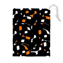 Orange, black and white pattern Drawstring Pouches (Extra Large)