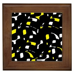 Yellow, black and white pattern Framed Tiles