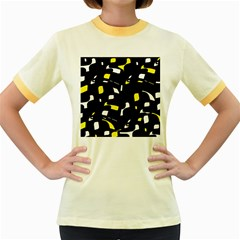 Yellow, black and white pattern Women s Fitted Ringer T-Shirts