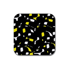 Yellow, black and white pattern Rubber Coaster (Square)