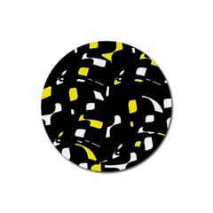 Yellow, black and white pattern Rubber Round Coaster (4 pack)