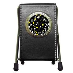 Yellow, black and white pattern Pen Holder Desk Clocks
