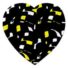 Yellow, black and white pattern Jigsaw Puzzle (Heart)