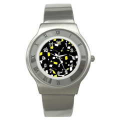 Yellow, black and white pattern Stainless Steel Watch